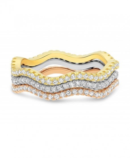 Sterling Silver Three-Tone Wave Stackable Rings with Cubic Zirconia (3 Piece Set) - CH183ODTZ46