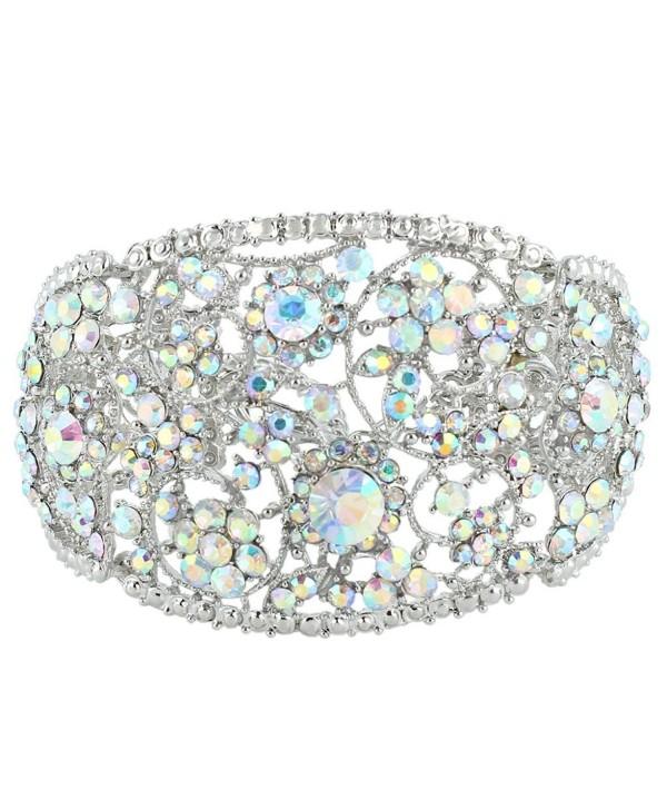 EVER FAITH Art Deco Wave Bracelet Iridescent Clear AB Austrian Crystal Silver-Tone - C911QCZZZVD