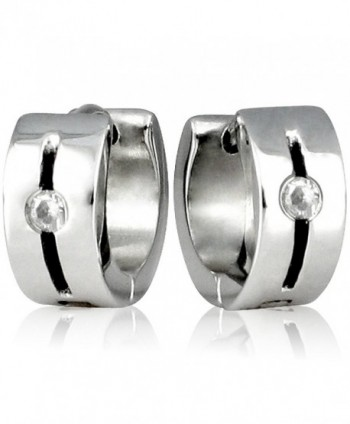 Stainless Silver Tone Rhinestone Huggie Earrings in Women's Hoop Earrings