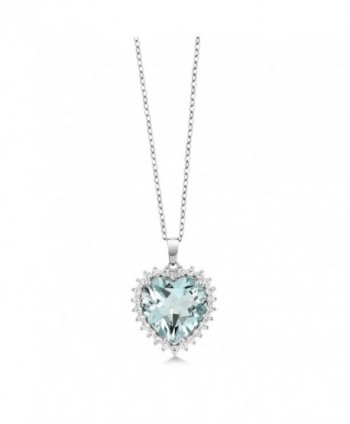 Sterling Created Aquamarine Pendant Necklace