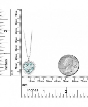 Sterling Created Aquamarine Pendant Necklace in Women's Pendants