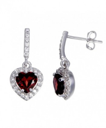 Sterling Silver Garnet Heart Earrings (0.95 CT) - CJ11NBE1UUD