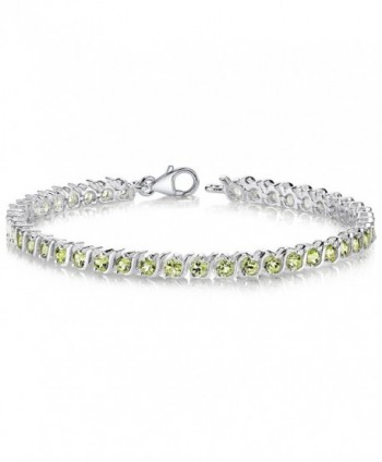 Peridot Tennis Bracelet Sterling Silver Rhodium Nickel Finish S Design 4.75 Carats - CF111PM0R2P