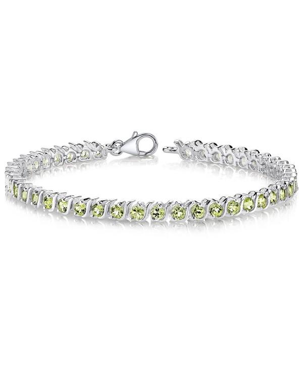 Peridot Tennis Bracelet Sterling Silver Rhodium Nickel Finish S Design 4.75 Carats - CF111PM0R2P