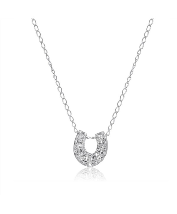 Mini Lucky Horseshoe Diamond Pendant-Necklace in Sterling Silver - CA12E03JEDN