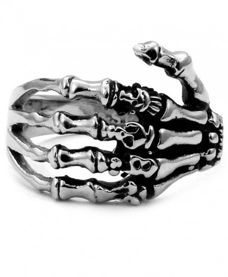 Stainless Steel Biker Ring with Gothic Skeleton Hand - Crazy2Shop - CF1145DB0RR