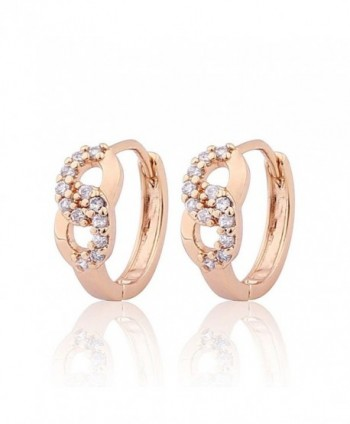 GULICX Prom Gift Lucky Hoop Infinity Earrings Gold Plated Brass Clear White Cubic Zirconia - CF122LHBRW1