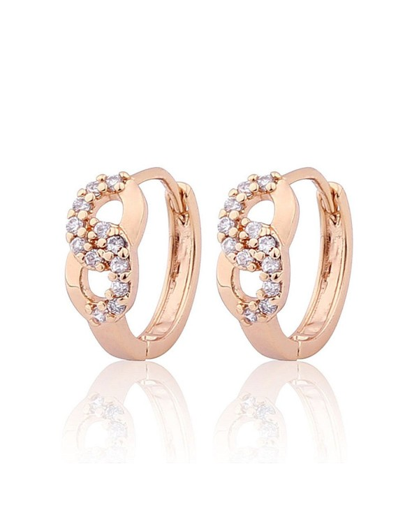 Gulicx Prom Gift Lucky Hoop Infinity Earrings Gold Plated Br Clear White Cubic Zirconia Cf122lhbrw1