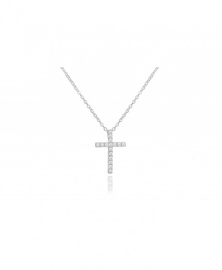 Brilliant Jewelry Round Cut Cz Cross Pendant 18in Cable Chain by NYC Sterling - CI1295GOP89