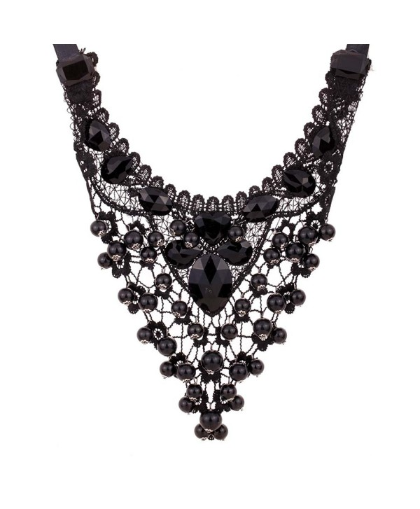 Yazilind Polyhedron Acrylic Choker Black Chain Lacing Type Statement Lace Collar Necklace - CI11II08373