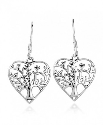 Romantic Heart Shape Tree of Life .925 Sterling Silver Dangle Earrings - CK17XQ7RC50