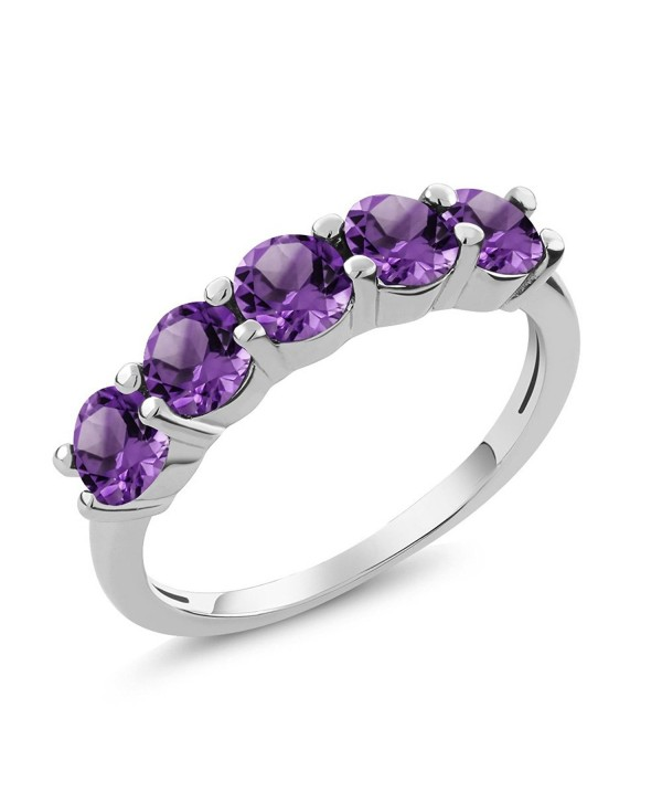 1.25 Ct Round Purple Amethyst 925 Sterling Silver 5-Stone Women's Band Ring (Available in size 5- 6- 7- 8- 9) - CJ11QN18SSD