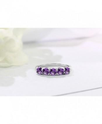 Purple Amethyst Sterling Silver 5 Stone in Women's Band Rings