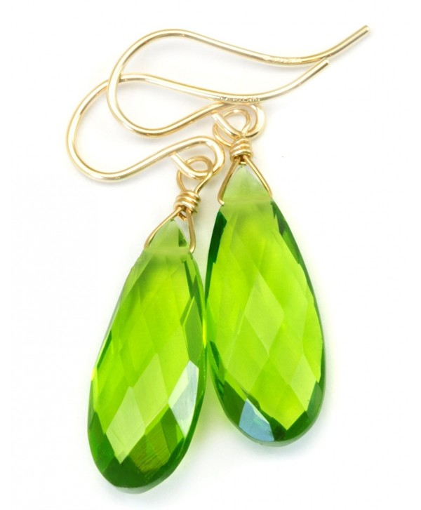 14k Gold Filled Simulated Peridot Earrings Green Long Teardrops Faceted - CO11EFS32GJ