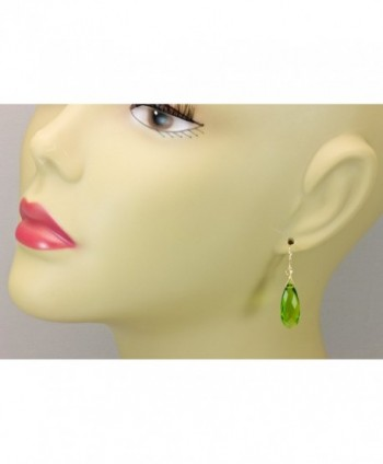 Simulated Peridot Earrings Teardrops Faceted