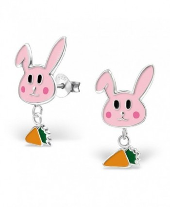 "Pro Jewelry .925 Sterling Silver ""Pink Rabbit w/ Dangling Carrot"" Stud Earrings 1250 1251 - C711USP96GX"
