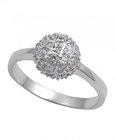 White CZ Ball Cluster Fashion Chic Ring New .925 Sterling Silver Band Sizes 5-9 - CD187Z99ZX0