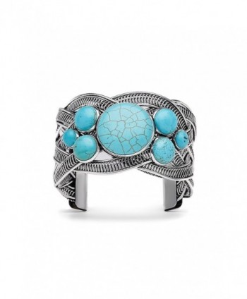 "Filigree Cuff Bracelet With Stones Metal Boho Wrist Wrap Open 1.8"" Wide Bangle - Turquoise - C2183R75G7Z"