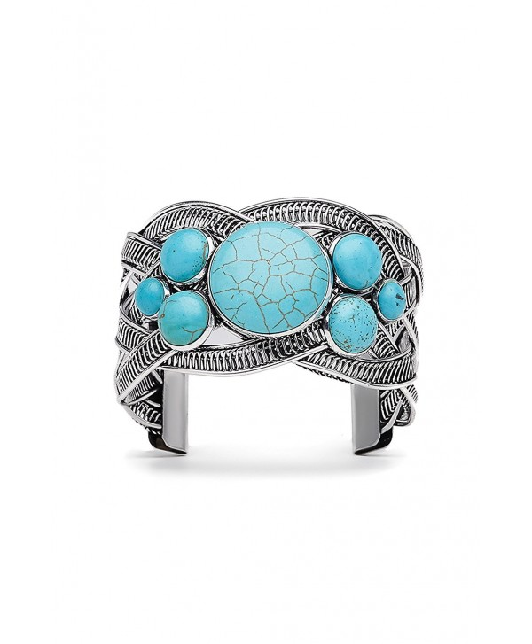 "Filigree Cuff Bracelet With Stones Metal Boho Wrist Wrap Open 1.8"" Wide Bangle - Turquoise - C2183R75G7Z"