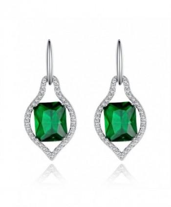 Kemstone Elegant Crystal Ruby Color Leaf Design Drop Dangle Earrings Rose Gold Plated Women Jewelry - Brown - CQ11YWVT69L