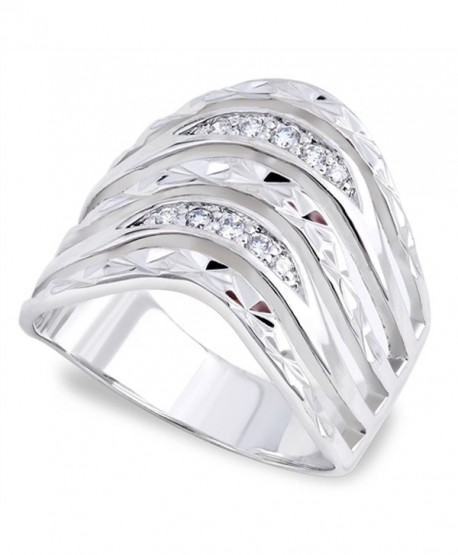 Clear CZ Waved Polished Retro Ring New 925 Sterling Silver Thumb Band Sizes 6-9 - CP187Z2O7RG