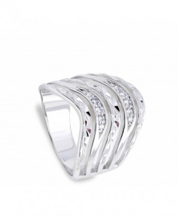 Clear Waved Polished Sterling Silver