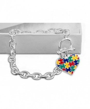 Autism Awareness Multicolored Heart Chunky Link Bracelet - CU12MNDS5L9
