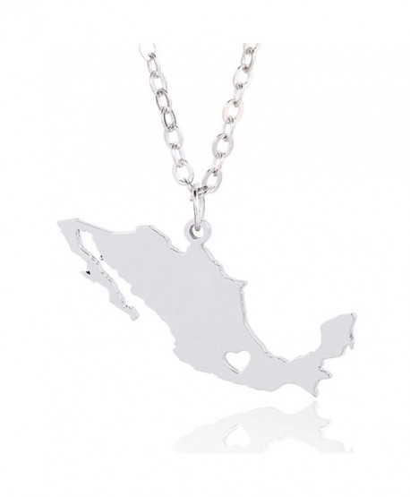 Silver Tone Stainless Steel Map Pendant Necklace- We Love Mexico- Mexico - CZ1876YH744