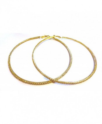 Large 4 Inch Hoop Earrings Crystal Rhinestone Hoop Earrings Gold Tone - CF12BQYT96L