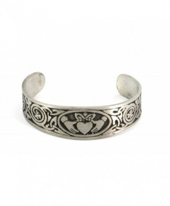 Handmade Claddagh Celtic Matte Finish Pewter Cuff Bracelet with Traditional Irish Shamrock (Adjustable) - CW11FEJR6A5