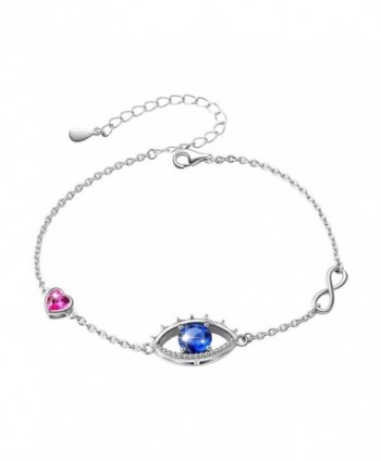 "Rhodium Plated Sterling Silver Evil Eye Hamsa Blue Purple White CZ Pendant Necklace 18"" - Bracelet - CZ1809O3RG0"