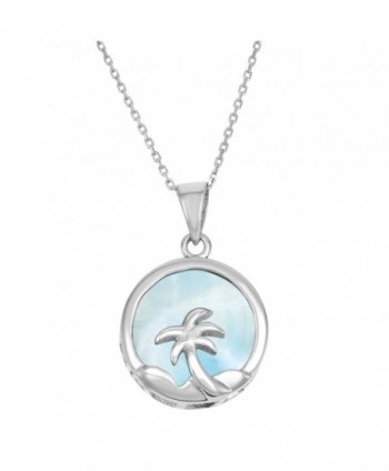 "Sterling Silver Natural Larimar Palm Tree Circle Pendant with 18"" Chain - CR11ABUF36B"