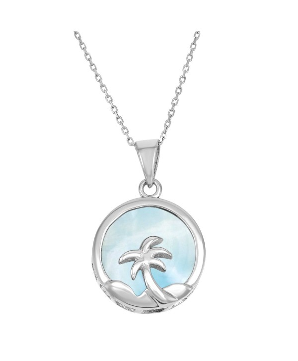 """Sterling Silver Natural Larimar Palm Tree Circle Pendant with 18"""" Chain - CR11ABUF36B"""