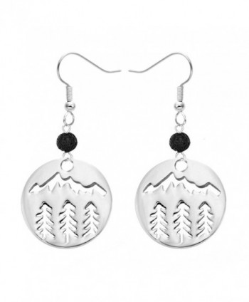 MANZHEN Stainless Steel Black Lava-rock Essential Oil Diffuser Dangle Earrings Jewelry - CQ189DREQRK