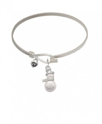 Imitation Pearl Snowman Mini Logo Heart Latch Bangle Bracelet - C212MAOFVB0