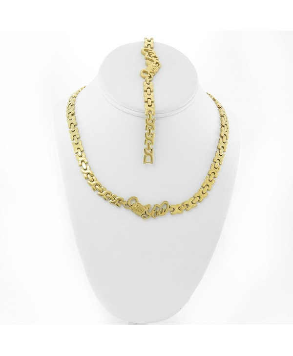 I LOVE YOU HUGS AND KISSES NECKLACE AND BRACELET SET XOXO STAINLESS STEEL GOLD DIAMOND CUT - CS12JSURG9R