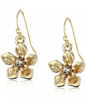 1928 Jewelry Le Marais Gold-Tone Flower Drop Earrings - CH11MY5RTBT
