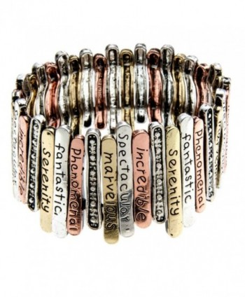 PammyJ Multi Tone Inspirational Words Stretch Bracelet -- Marvelous Incredible Spectacular - CB11GEY2GI7