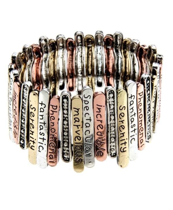 PammyJ Multi Tone Inspirational Words Stretch Bracelet -- Marvelous Incredible Spectacular - CB11GEY2GI7