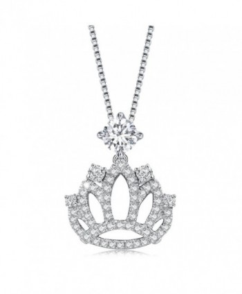 Necklace- 925 Sterling Silver Crown shaped Pendant Necklace for Women Gift for Valentine - White - CZ184WK0G4H