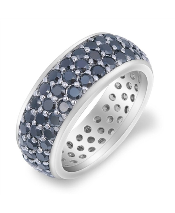 CHOOSE YOUR COLOR Sterling Silver Eternity Cluster Ring - Black Simulated Cubic Zirconia - C7187YYG7YS