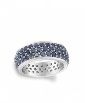 Black Simulated Stackable Sterling Silver
