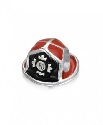 Bling Jewelry Red Enamel Fire Department Fireman Hat Bead Charm Silver - C511T7SBC91