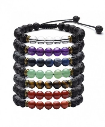 Top Plaza Adjustable Protection Aromatherapy - 7 Chakra Lava Stone Bracelets Set - CI188KA2MMA