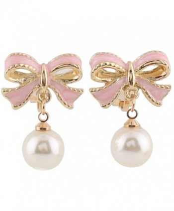 Grace Jun Pink Bowknot Shape Clip on Earrings Without Piercing for Women Pearl Drop Earrings - CM182ZWSQOQ