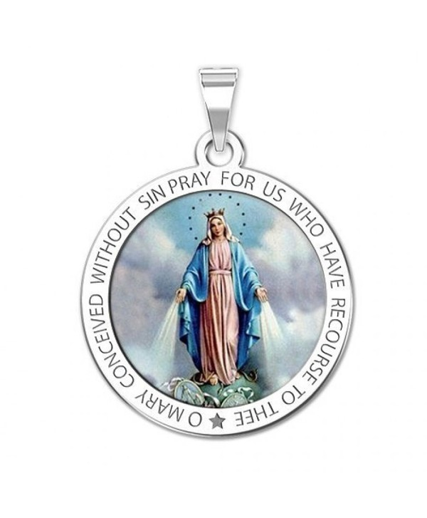Miraculous Medal Round Color - 3/4 Inch X 3/4 Inch Solid Sterling Silver - CF11ETLDAWR