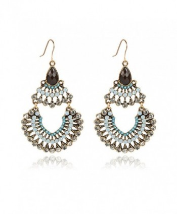 IYOCHO Diamond Crystal Dangle Earrings Retro Boho Style Tassels Blue - C712FY87EEJ