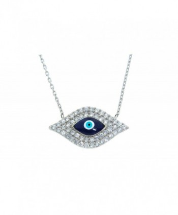 NYC Sterling Women Cubic Zirconia Evil Eye Novelty Necklace - Dark Blue - CT17XHWEKG5