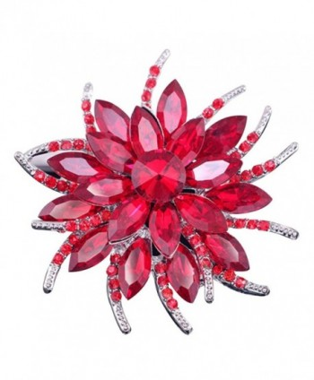 SANWOOD Wedding Bridal Large Flower Rhinestone Scarf Brooch Broach Pin Crystal Breastpin Jewelry - Red - CH182I0MRCL