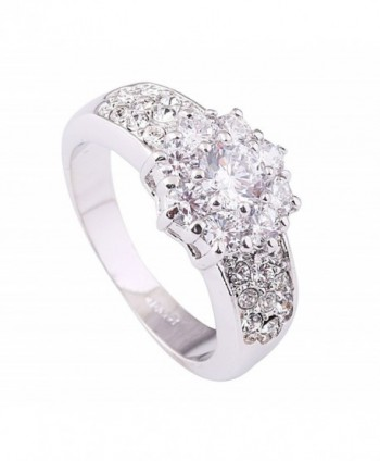 Acefeel White Gold Plated Dazzling Flower Shape Clear Austrian Drilling Promise Wedding Ring R109 - CF12B6DT1FV